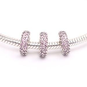 3 PANDORA Sterling Silver Abstract Sparkly Spacers